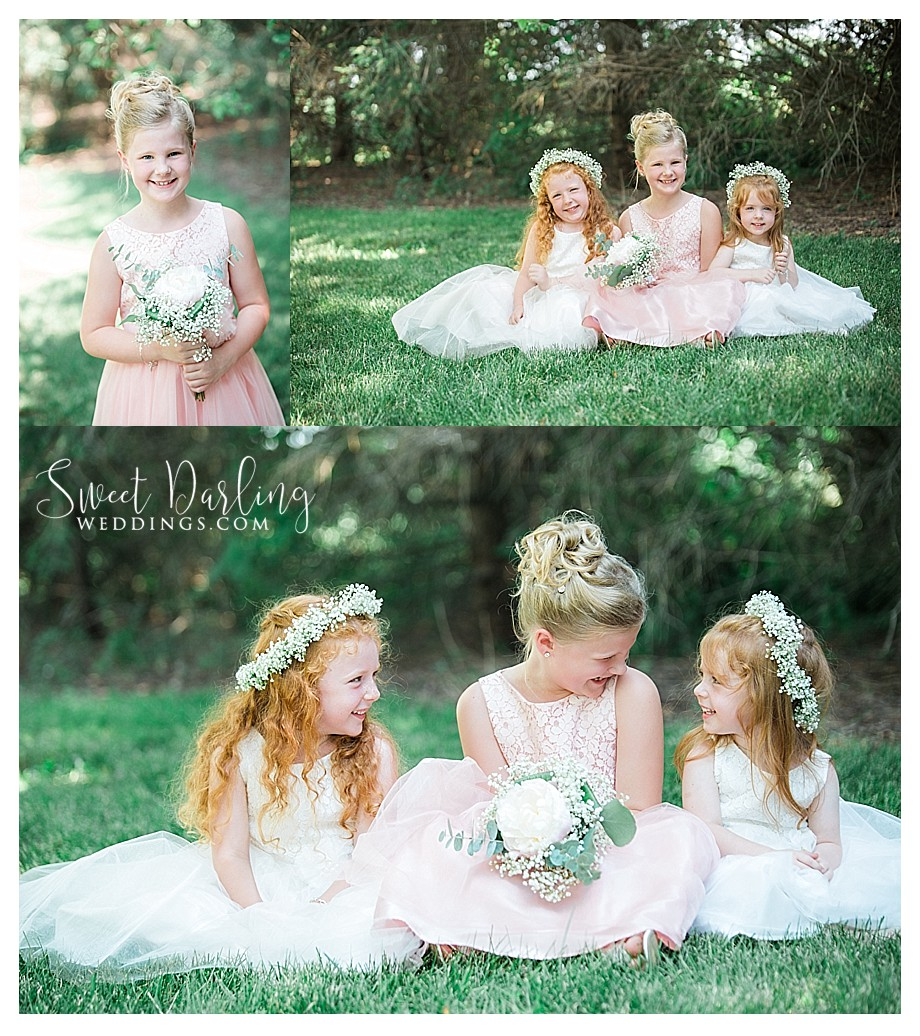 3 flower girls wearing baby breath floral crowns