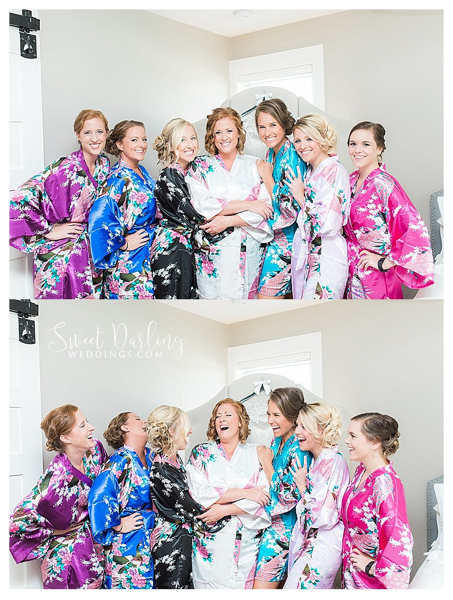 bride bridesmaids getting ready on wedding day in robes floral kimonos