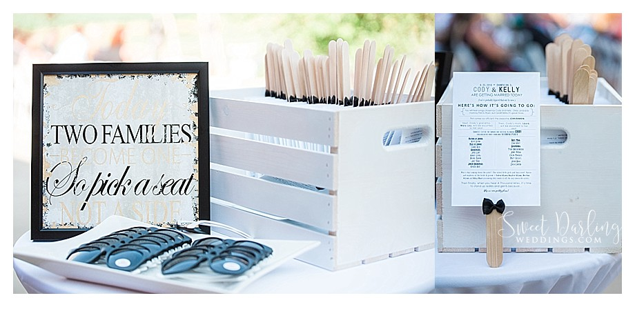 wedding programs and personalized sunglasses
