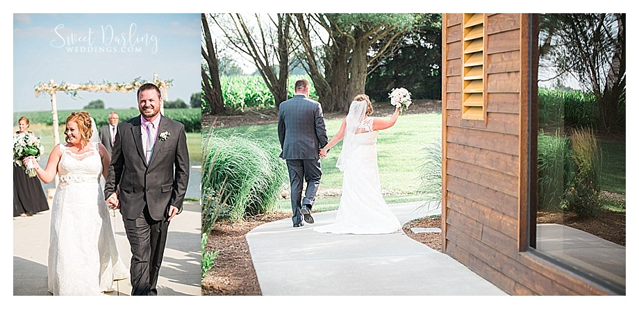 bride and groom celebrate as they walk away from ceremony