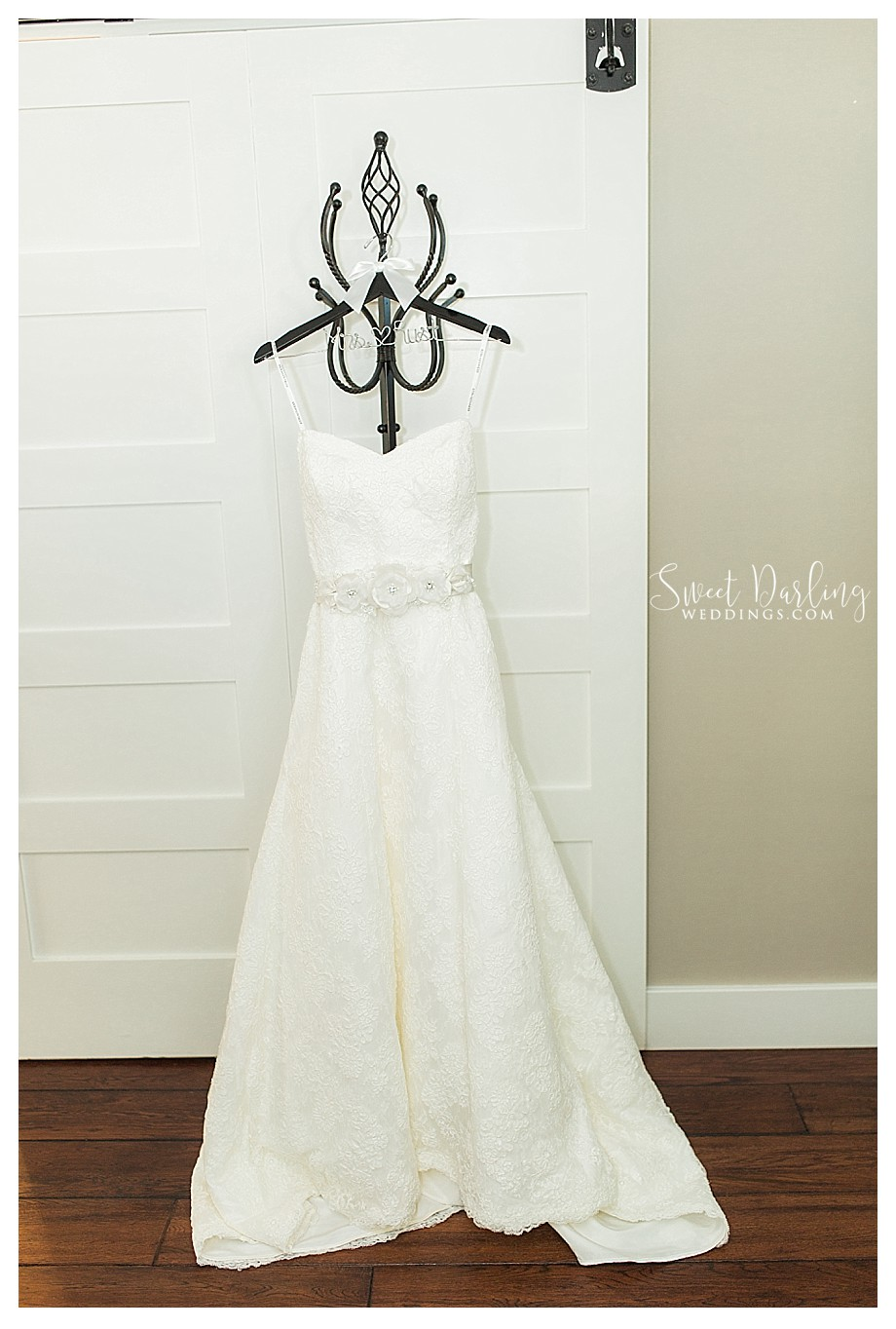 wedding dress on personalized wooden hanger