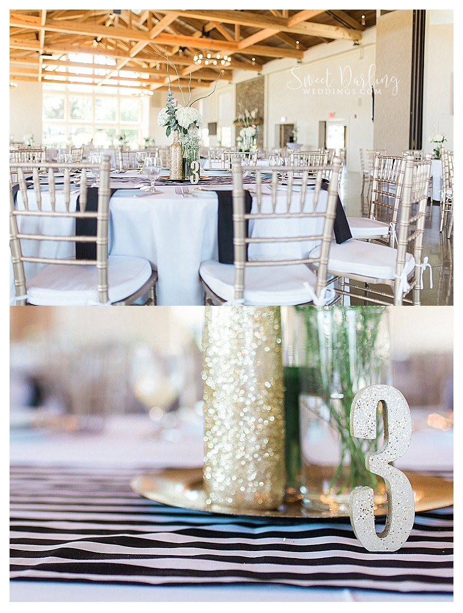 gold sparkles and black wedding reception details