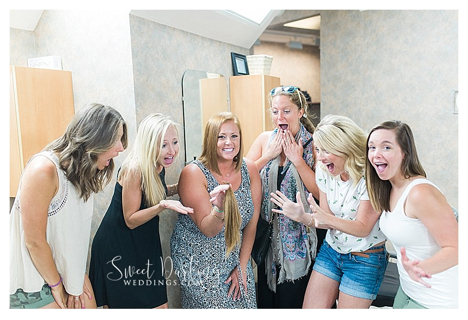 Girls having fun after bride donated hair at BJ Grand Salon