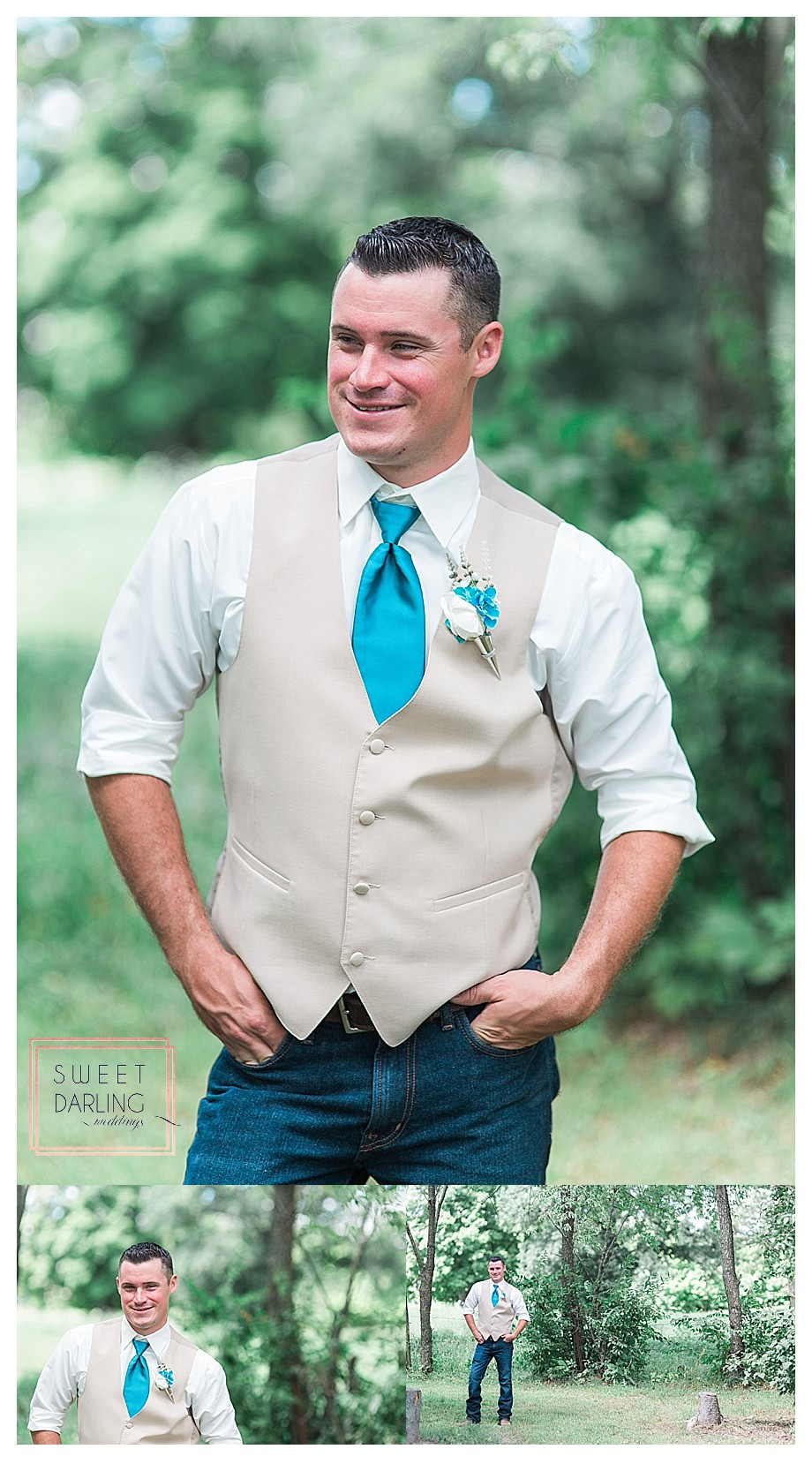groom casually dressed with jeans cowboy boots tie and vest