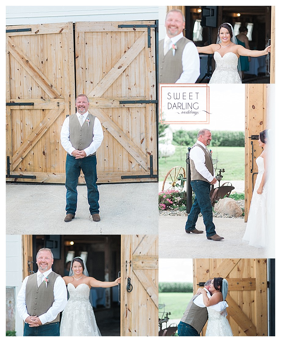 father daughter first look at barn of country wedding