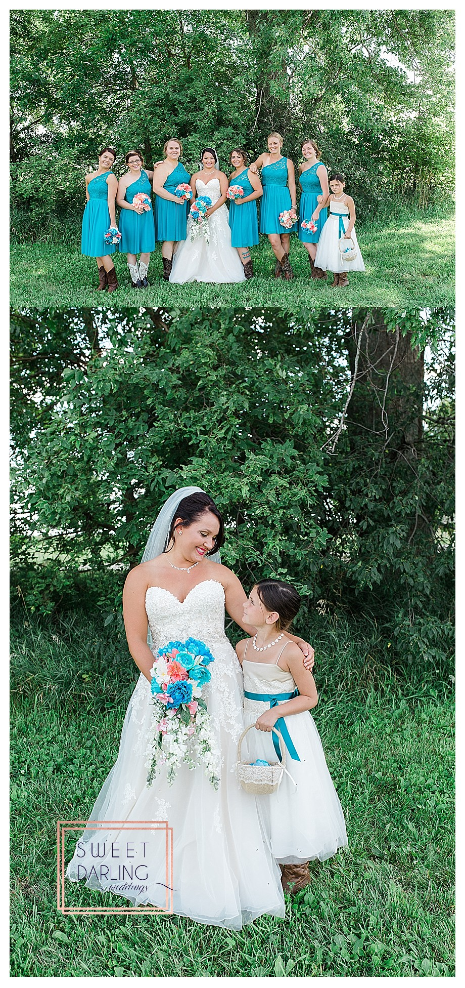 teal aqua blue off the shoulder bridesmaid dresses