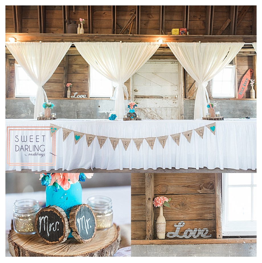 coral and teal wedding details wood and burlap accents