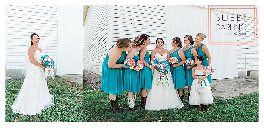 bride and bridesmaids country wedding wearing cowboy boots