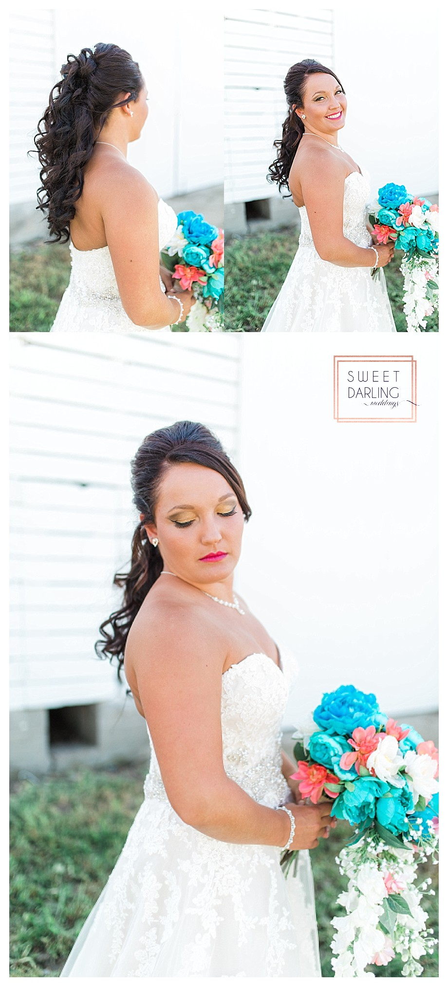bride in white strapless gown curled hair
