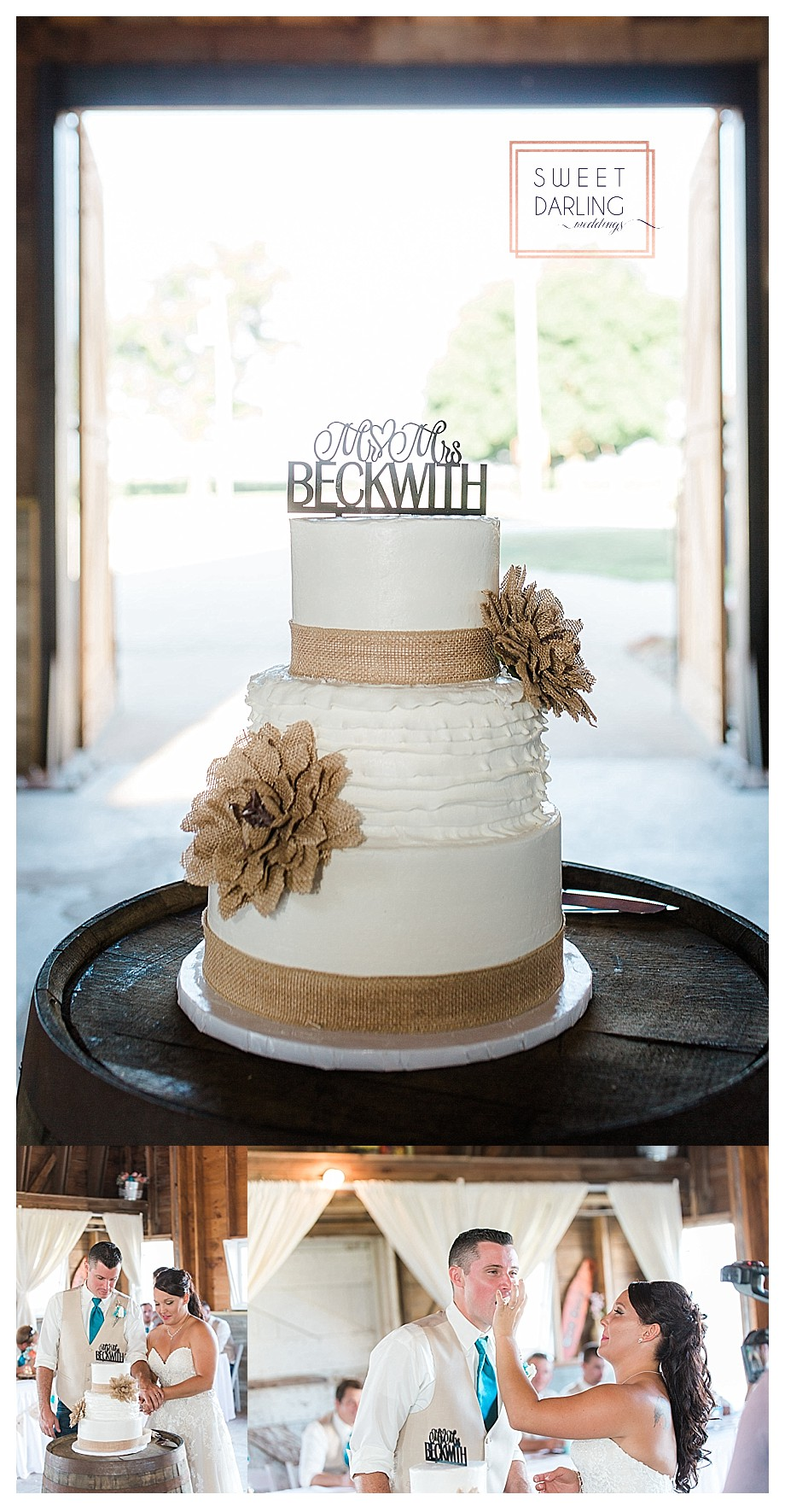 white cake with burlap flowers and details