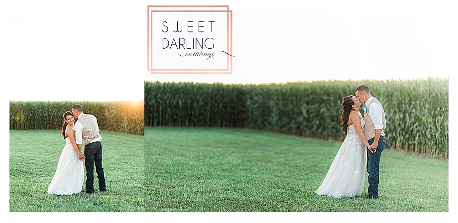 bride and groom at sunset of country barn wedding