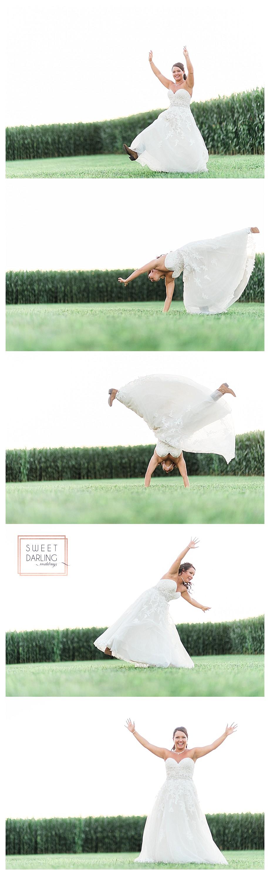 bride former cheerleader does cartwheels in wedding dress