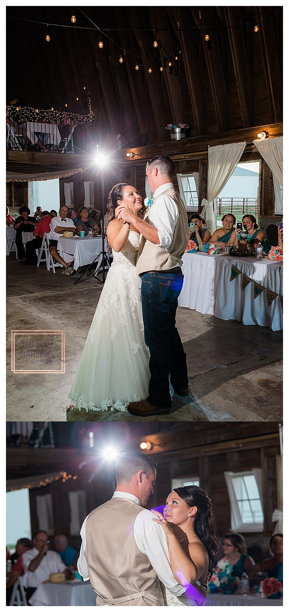 bride and groom first dance in a barn at wedding