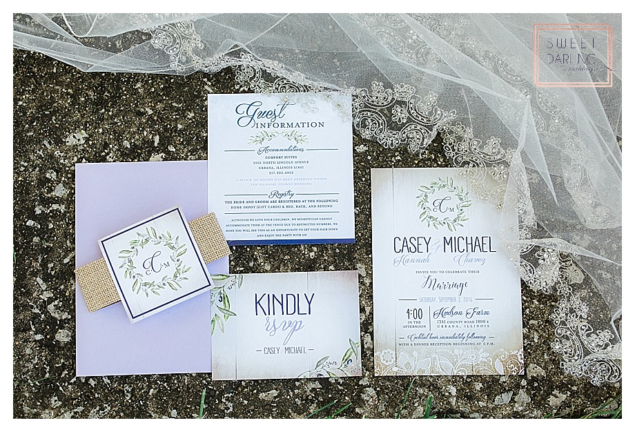 lavender wedding invitations by Kelly Graves Designs
