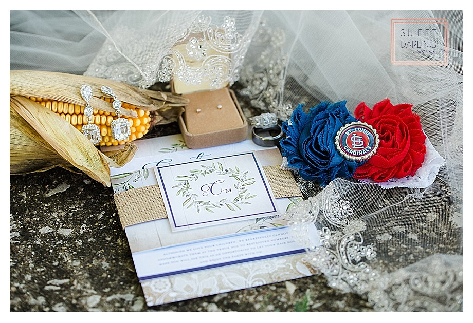 wedding invitation and St. Louis Cardinals garter