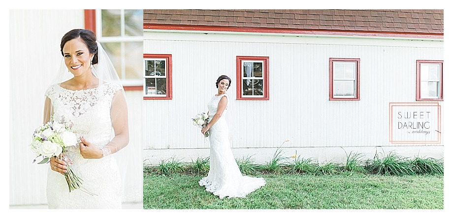 bride outside on the farm