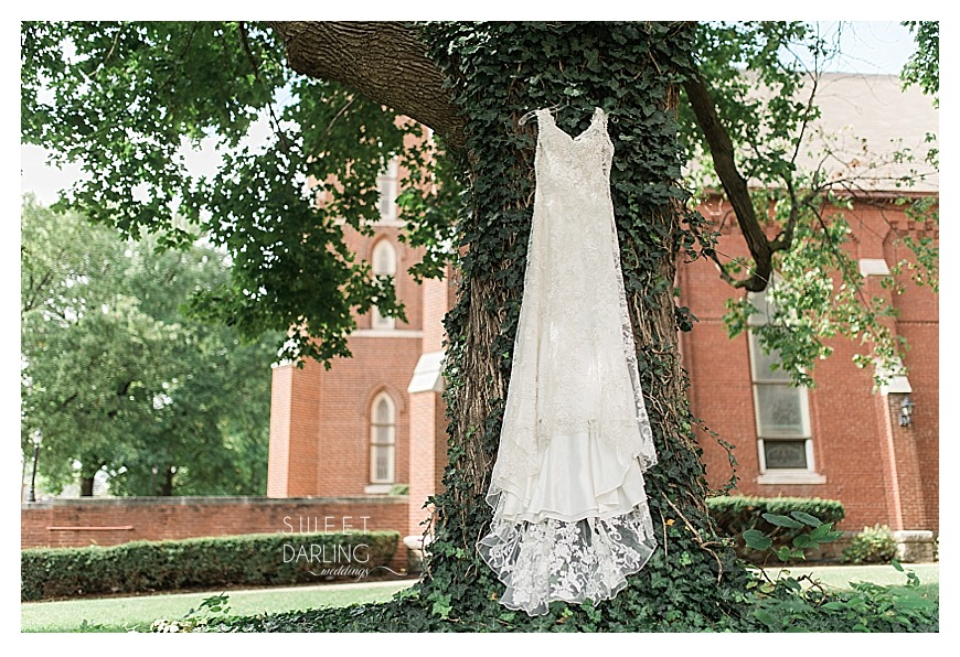 bride's white sleeveless vneck wedding dress hanging in a tree