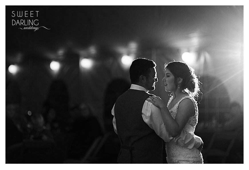 bride and groom first dance black and white picture