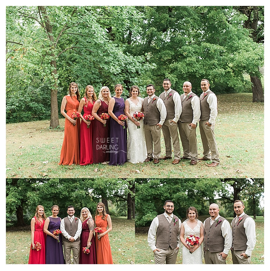 fall wedding party with orange, red, burgundy and purple dresses