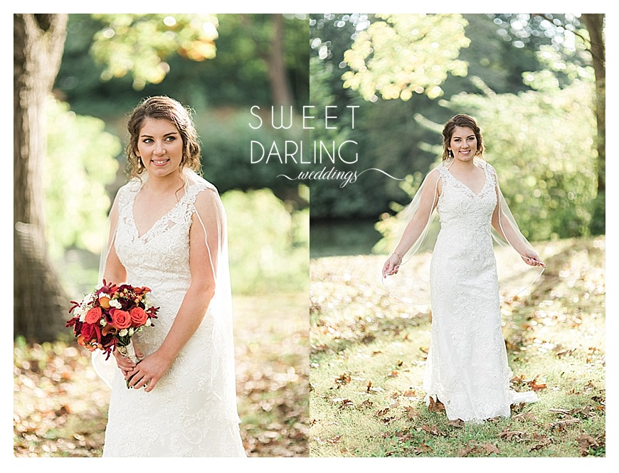 bride wearing a vneck wedding dress and holding fall flowers