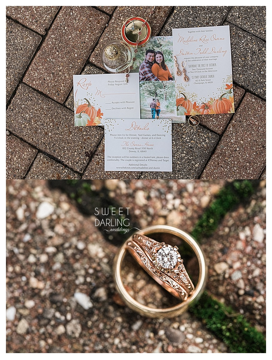 detail shots of custom wedding invitations and rings