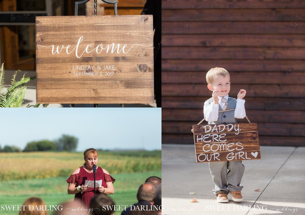 Ring bearer holding sign on patio of pear tree estate