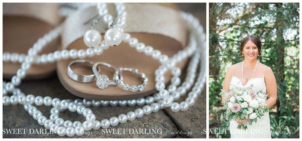 Bride's jewelry with diamonds and pearls