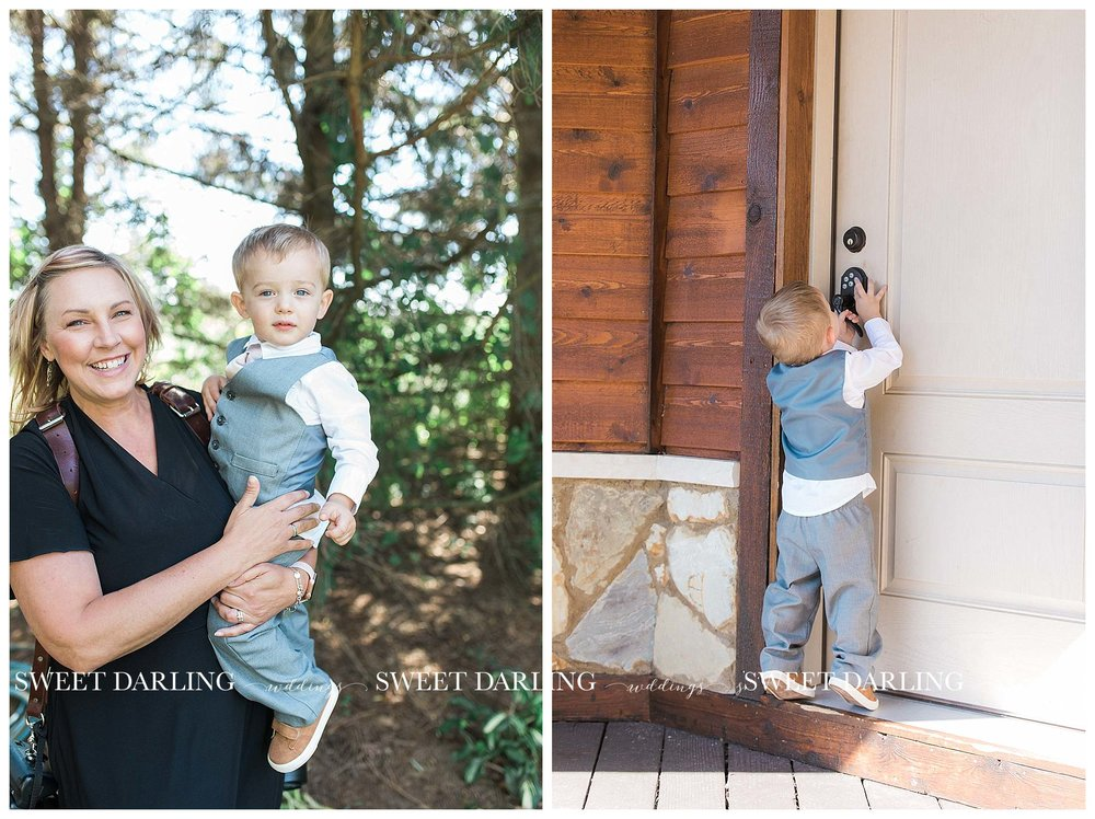 Photographer holding ring bearer at Pear Tree Estate