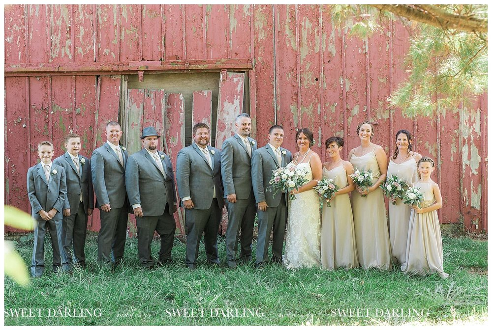 Bridal party photos at red barn in Central Illinois