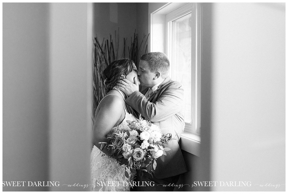 Indoor bride and groom pictures at pear tree estate