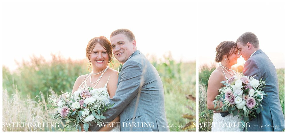 Golden hour bride and groom in cornfield at pear tree estate