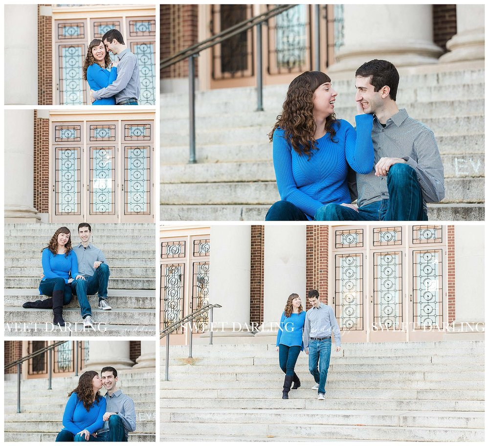 Engaged couple in blue at foellinger auditorium