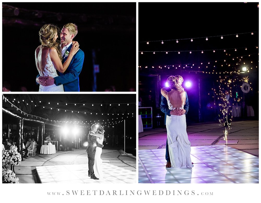 Bride and groom's first dance on lighted dance floor at secrets silversands