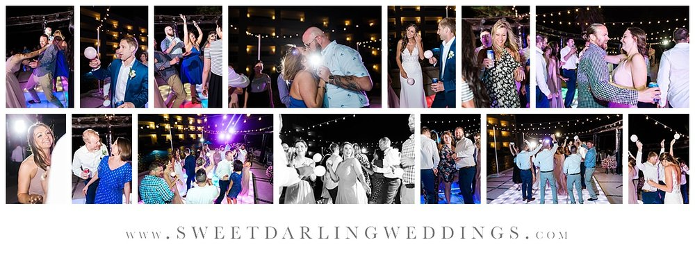 Wedding guests dancing on lighted dance floor at secrets silversands