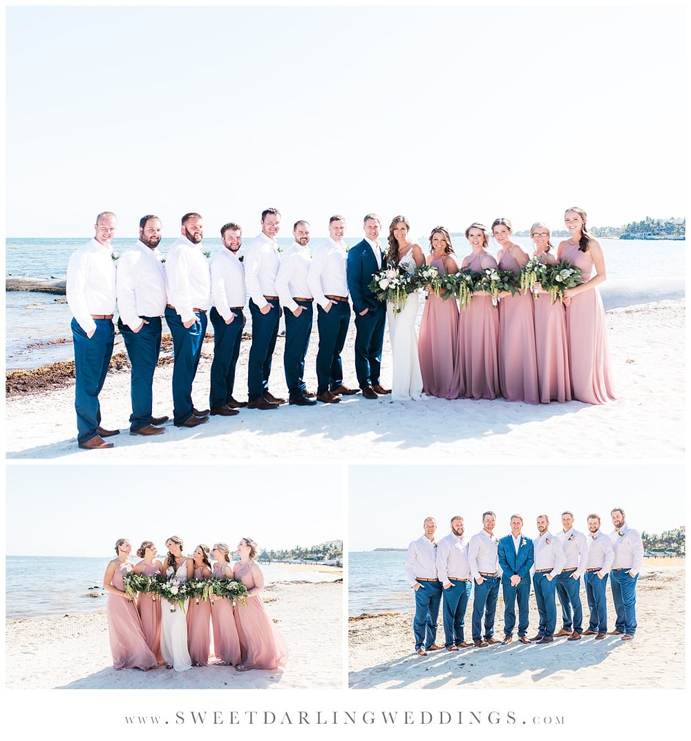 Bridal party pictures on the beach at Secrets Silversands