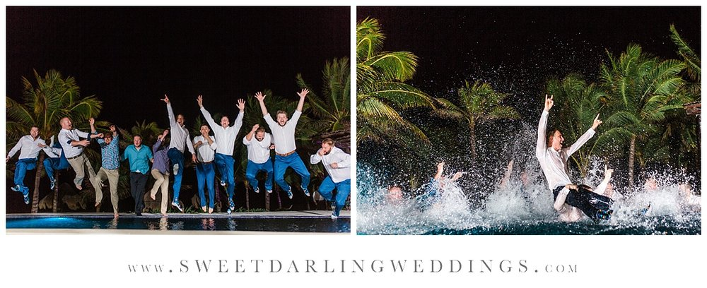 Wedding party jumping into pool during destination wedding at secrets silversands mexico