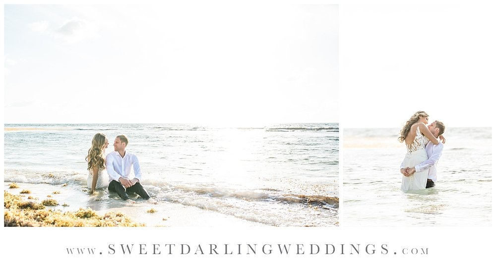 Bride and groom sitting on beach during trash the dress sunrise session at secrets silversands