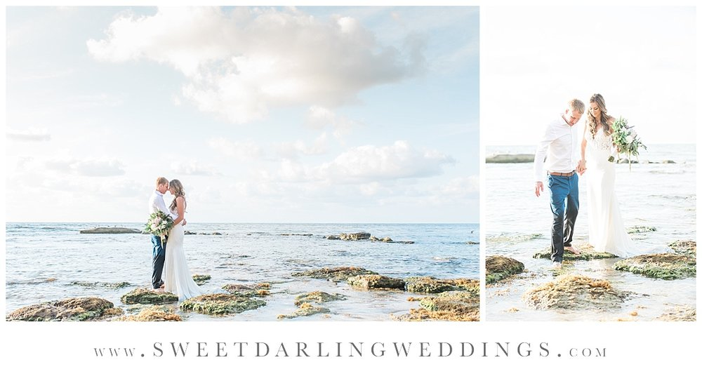 Bride and groom in the ocean during sunrise session at secrets silversands