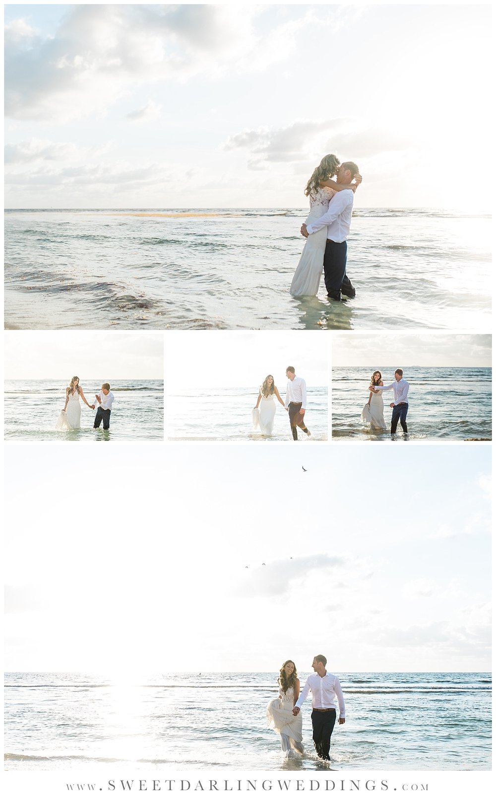 Bride and Groom in the water during trash the dress sunrise session in Mexico