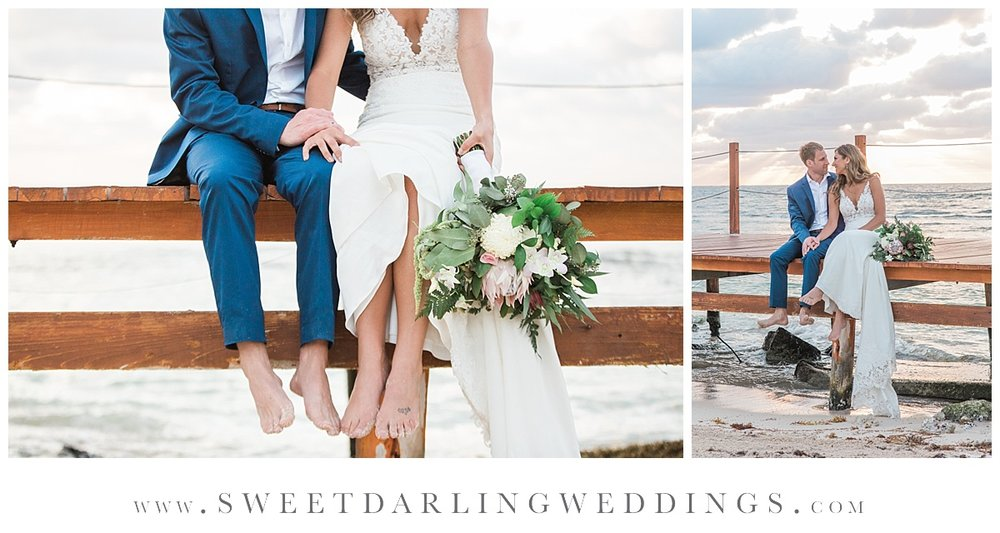 Bride and groom on dock by beach at Secrets Silversands