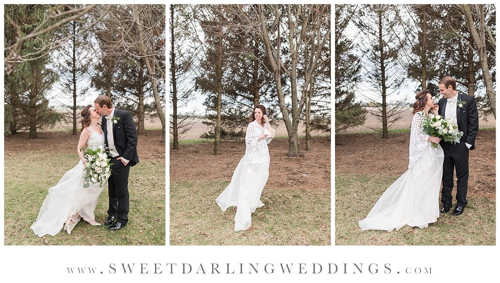 Bride and groom at spring wedding in Champaign, IL at Pear Tree Estate