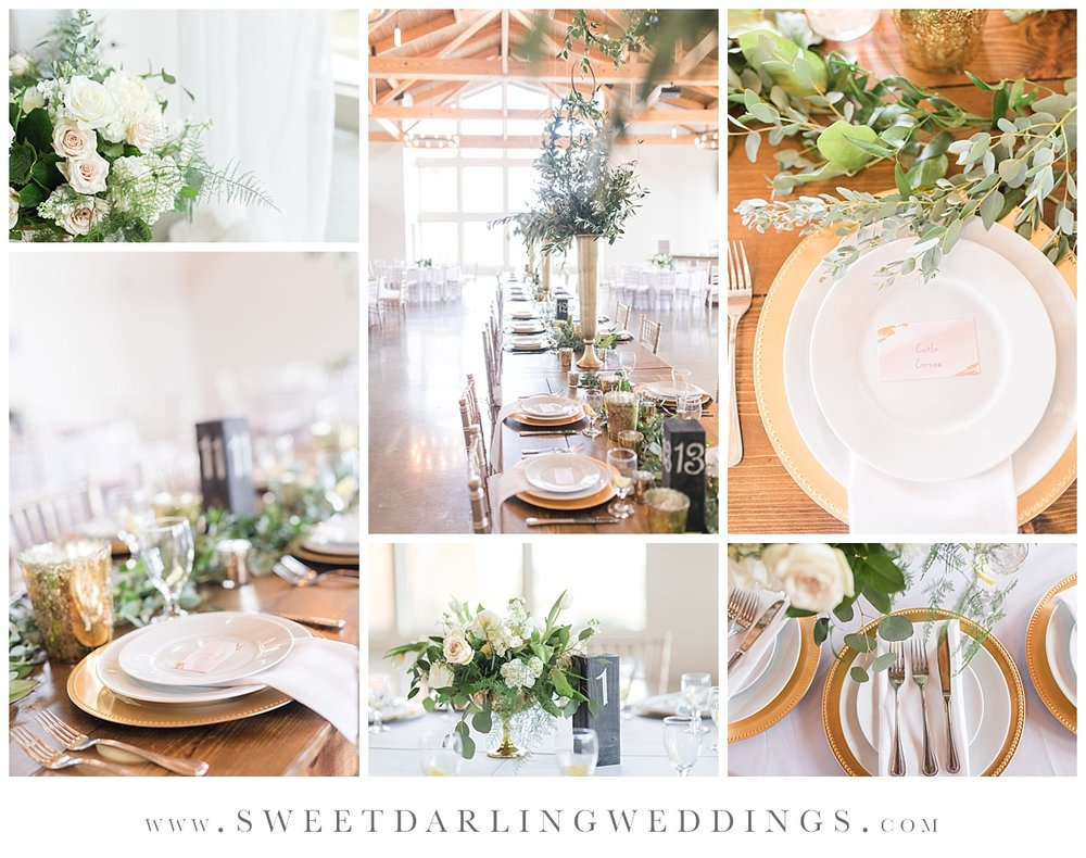 Wedding reception details for spring wedding at Pear Tree Estate