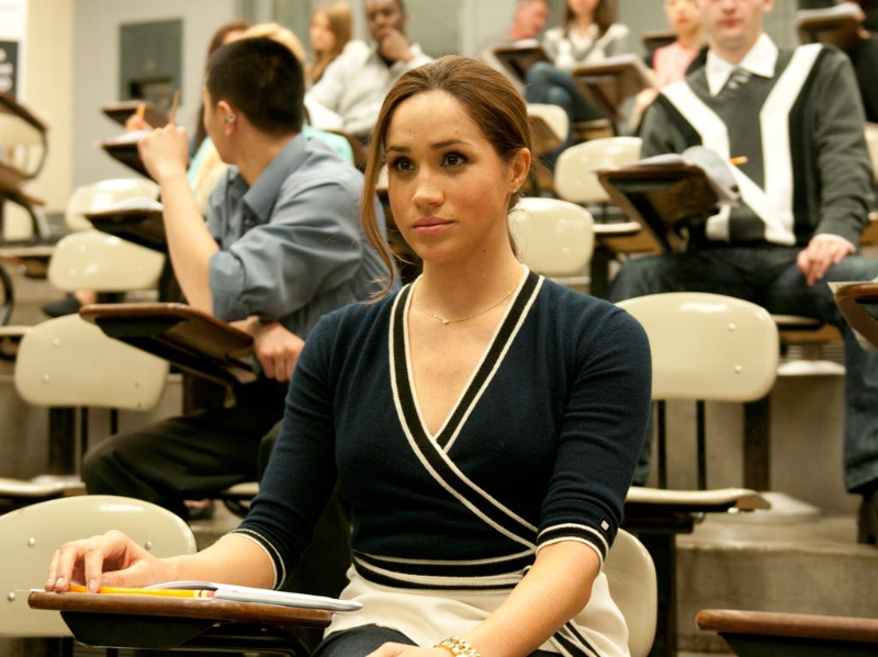 (Paralegal/ law student Rachel Zane (Meghan Markle) in class on Suits.)
