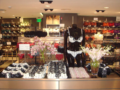 Displays like these are common among stores like Victoria's Secret.