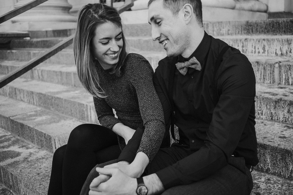 Downtown Denver Engagement Black and White Stairs