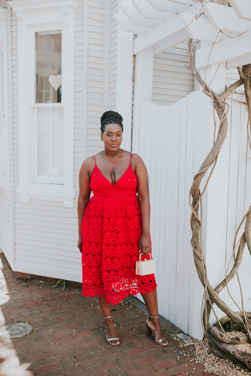 Wedding Guest in a Red Lace Dress — Charmant Style