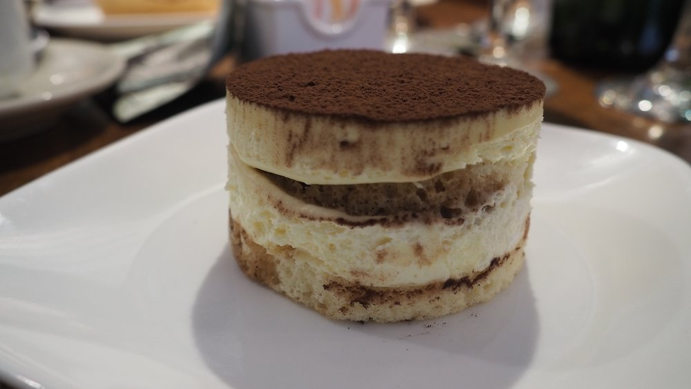Tiramisu -- creamy, sponge-y, and perfect.