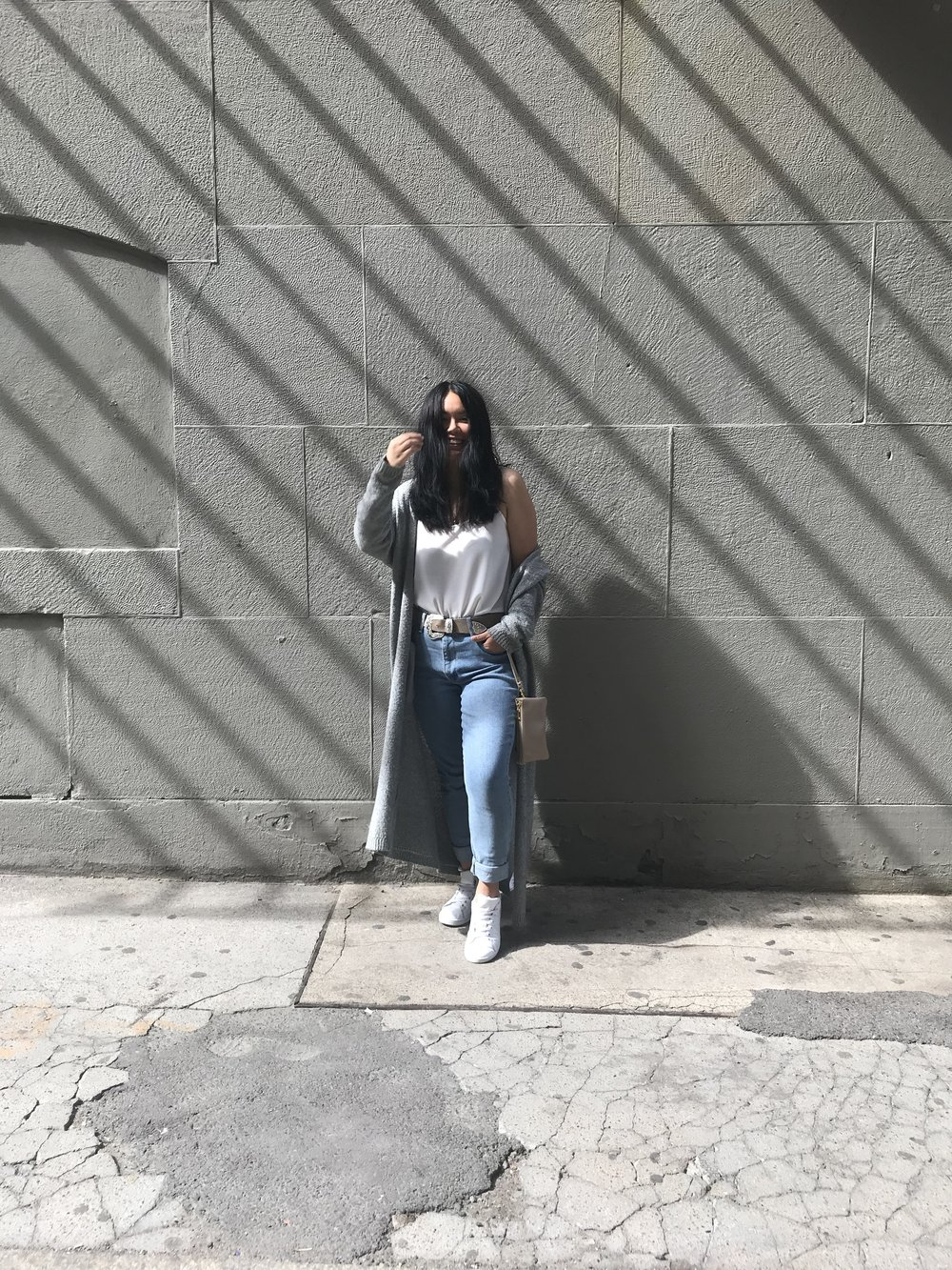 Cardi: Urban Outfitters ; Tank: Uni Qlo Belt: Nordstrom ; Jeans: Levi's ; Shoes: Adidas