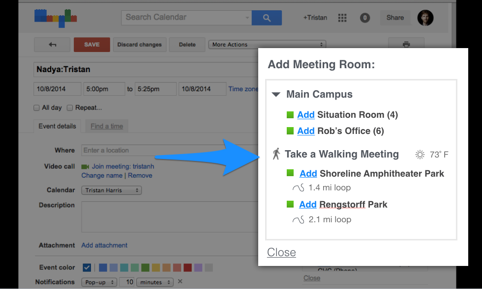 Instead of selecting a meeting room, what if calendar scheduling systems showed other choices outside the office to meet?