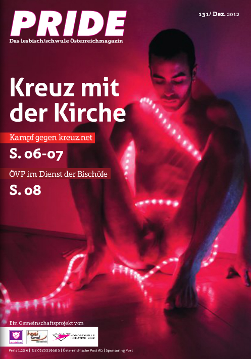 Cover for Pride Magazine.  issue 131 Dec. 2012.  Austria.   http://www.pride.at/ausgabe/nr-131dez-2012/